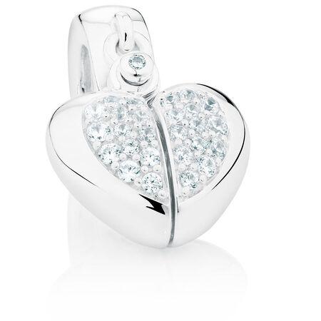 Cubic Zirconia Heart Charm With Hidden Key