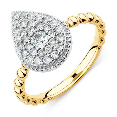 Pear Shape Stacker Ring with 1/2 Carat TW of Diamonds in 10ct Yellow & White Gold