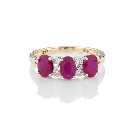 Three Stone Ring with Ruby & Diamonds in 10ct Yellow Gold