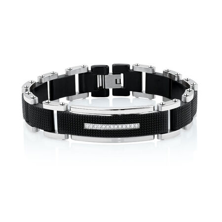 Men's Bracelet with Cubic Zirconia in Black PVD Plated Stainless Steel