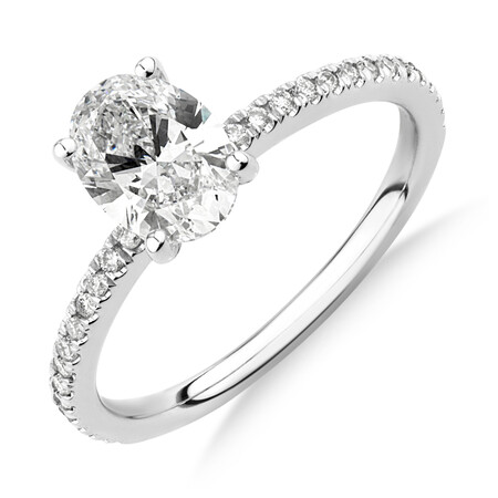 Laboratory-Created 1.14 Carat TW of Diamond Oval Ring In 14ct White Gold