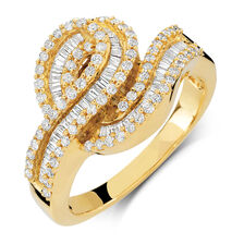 Ring with 0.88 Carat TW of Diamonds in 10ct Yellow Gold