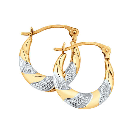 Patterned Twist Earrings in 10ct Yellow & White Gold