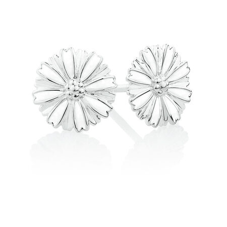 Flower Stud Earrings with White Enamel in Sterling Silver
