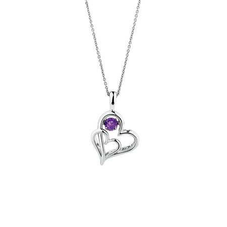 Everlight Heart Pendant with Amethyst in Sterling Silver