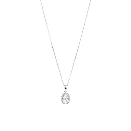 Halo Pendant with Created White Sapphire and 0.04 TW of Diamonds in Sterling Silver