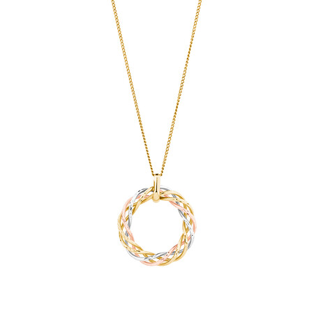 Twist Pendant with 10ct Yellow, White & Rose Gold