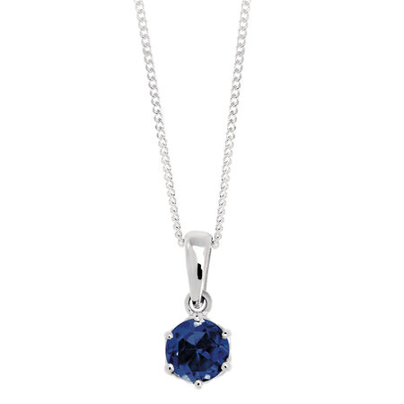 Pendant with a Created Sapphire in Sterling Silver
