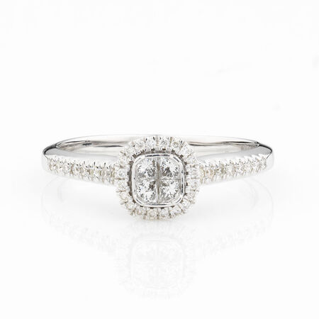 Online Exclusive - Multistone Ring with 0.34 Carat Total Weight of Diamonds in 10ct White Gold