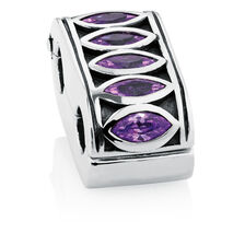 Purple Cubic Zirconia & Sterling Silver Fancy Double Stopper