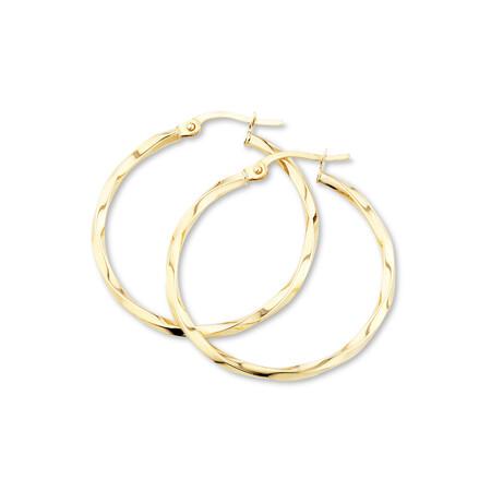 28mm Square Twist Hoop Earrings in 10ct Yellow Gold