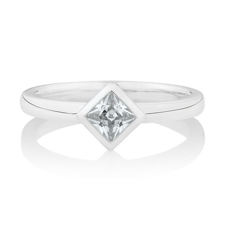 Geometric Stacker Ring with Cubic Zirconia in Sterling Silver