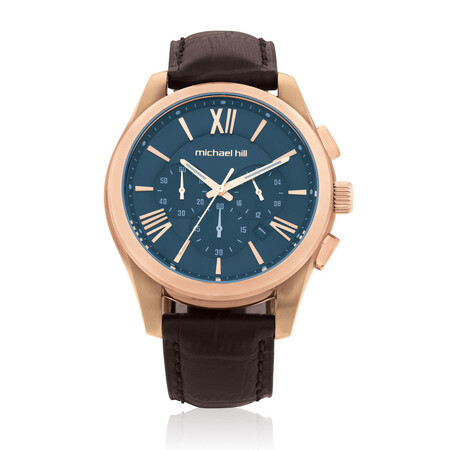 Men's Chronograph Watch in Brown Tone Stainless Steel and Brown Leather