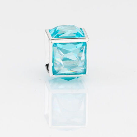Online Exclusive - Square Charm with Blue Cubic Zirconia in Sterling Silver