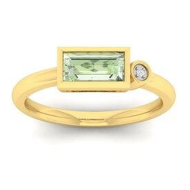 Ring with Green Amethyst & Diamond in 10ct Yellow Gold