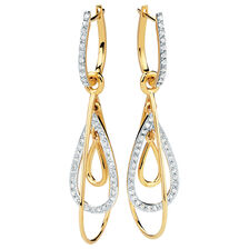 Drop Earrings with 1/2 Carat TW of Diamonds in 10ct Yellow Gold