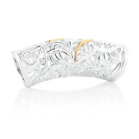 Wild Hearts Leaf Patterned Sleeve in Sterling Silver & 10ct Yellow Gold