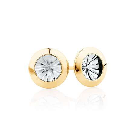Stud Earrings in 10ct Yellow & White Gold