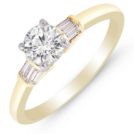 Ring with 0.86 Carat TW of Diamonds in 10ct Yellow & White Gold