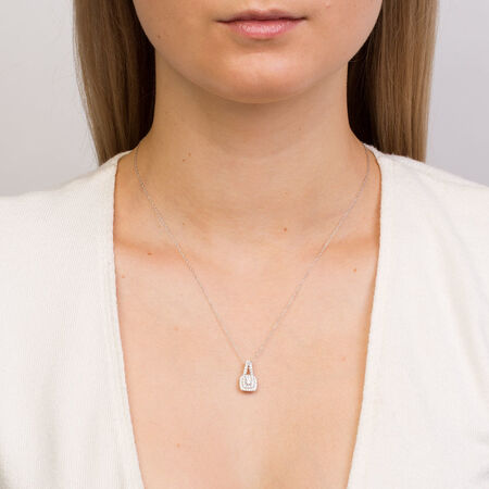 Michael Hill Designer Arpeggio Pendant with 1/2 Carat TW of Diamonds in 14ct White & Rose Gold