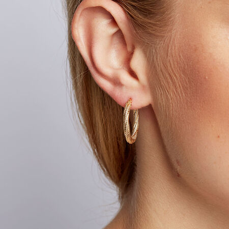 Patterned Hoop Earrings in 10ct Yellow Gold