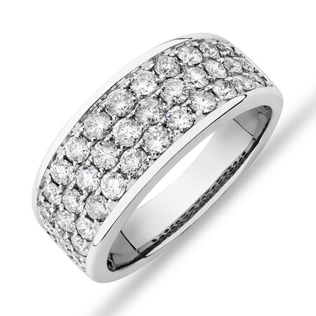 Men's Pave Ring with 2.00 Carat TW of Diamonds in 10ct White Gold