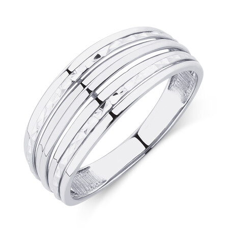 Patterned 10ct White Gold Ring