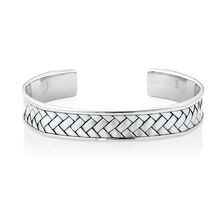 Men's Weave Pattern Cuff Bracelet in 925 Sterling Silver