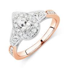 Sir Michael Hill Designer GrandAmoroso Engagement Ring with 0.71 Carat TW of Diamonds in 14ct White & Rose Gold