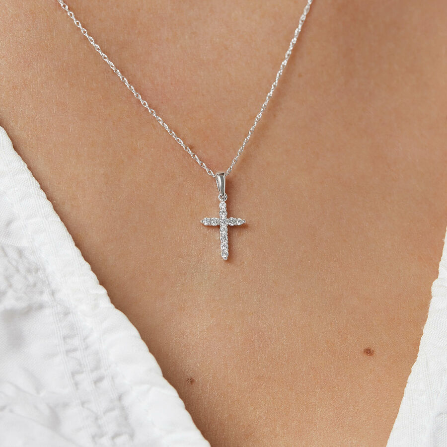 Cross Pendant with Diamonds in 10ct White Gold