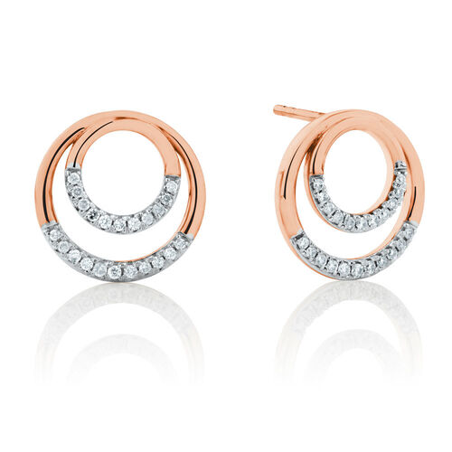 Double Circle Stud Earrings With 0.17 Carat TW of Diamonds in 10ct Rose Gold
