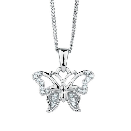 Butterfly Pendant with Diamonds in Sterling Silver
