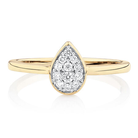 Promise Ring with Diamonds in 10ct Yellow Gold