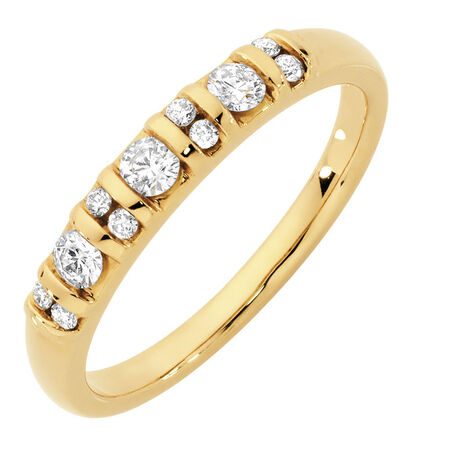 Wedding Band with 1/3 Carat TW of Diamonds in 10ct Yellow Gold