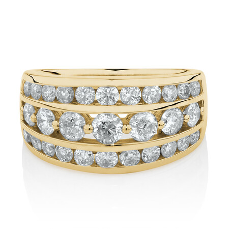 Three Row Ring with 2 Carat TW of Diamonds in 10 ct Yellow Gold