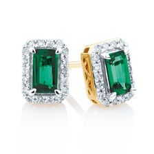Stud Earrings with Created Emerald and 0.15 Carat TW of Diamonds in 10ct Yellow Gold