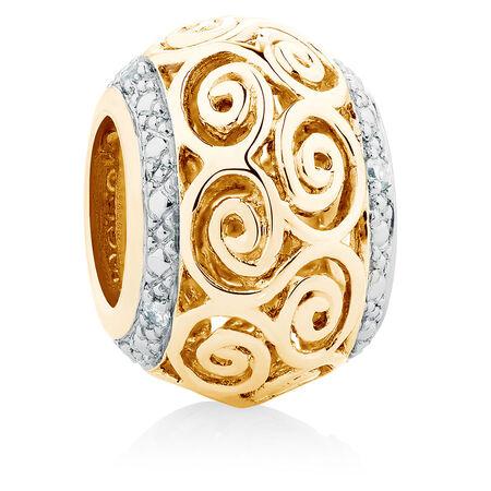 Diamond Set Swirl Charm in 10ct Yellow Gold