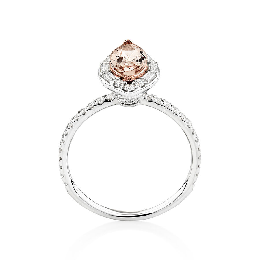 Sir Michael Hill Designer Marquise Engagement Ring with Morganite & 0.50 Carat TW of Diamonds in 18ct White Gold