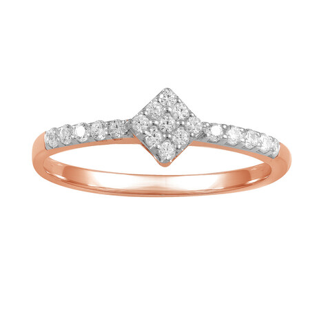 Cluster Ring with 0.15 Carat TW of Diamonds in 10ct Rose Gold