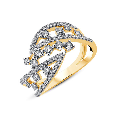 Ring with 0.75 Carat TW of Diamonds in 10ct Yellow Gold