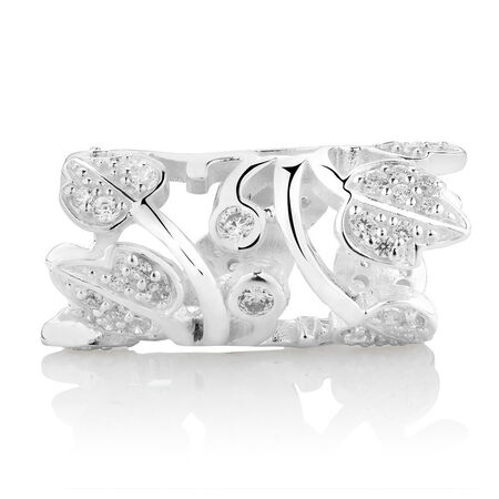 Cubic Zirconia & Sterling Silver Wild Hearts Sleeve Charm