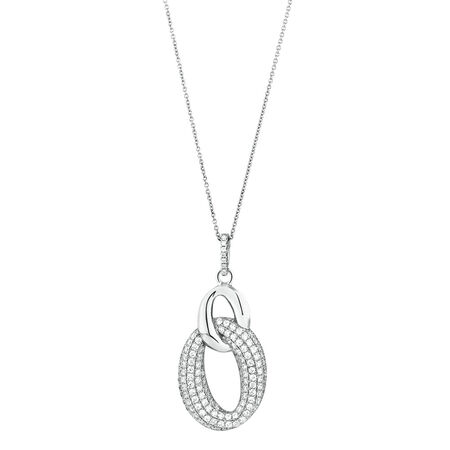 Loop Link Pendant with Cubic Zirconia in Sterling Silver