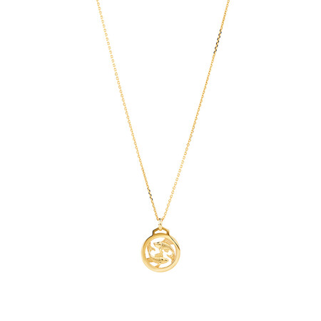 Pisces Zodiac Pendant with Chain in 10ct Yellow Gold