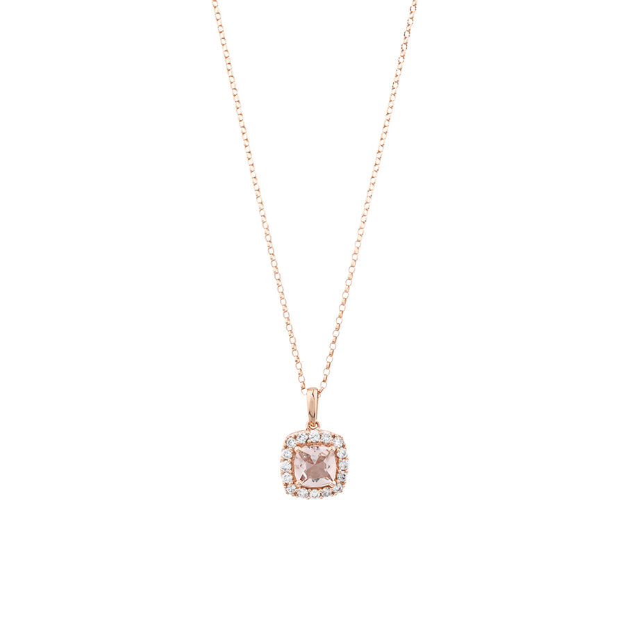 Halo Pendant With Morganite & 0.25 Carat TW of Diamonds In 10ct Rose Gold