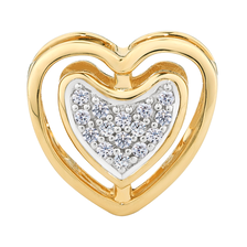 Diamond Set 10ct Yellow Gold Double Heart Charm