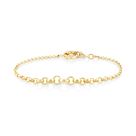 "19cm (7.5"") Graduated Belcher Bracelet in 10ct Yellow Gold"