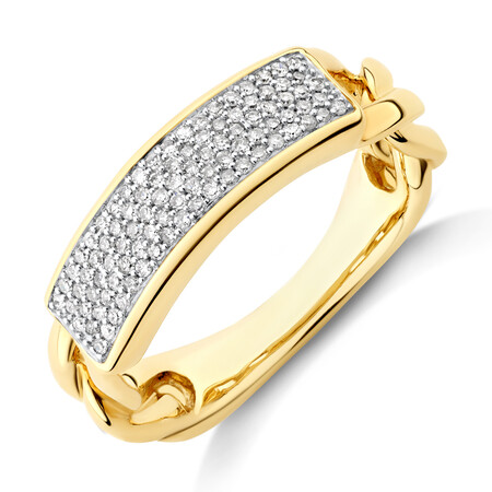 Pave Link Ring with 0.25 Carat TW of Diamonds in 10ct Yellow Gold