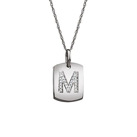 """M"" Initial Rectangular Pendant With Diamonds In 10ct White Gold"
