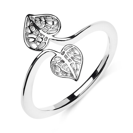 Heart Leaves Ring in Sterling Silver