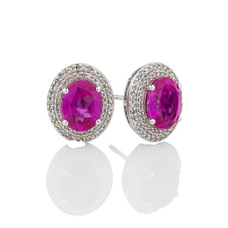 Halo Earrings with Created Pink Sapphire & 0.39 Carat TW of Diamonds in 10ct White Gold